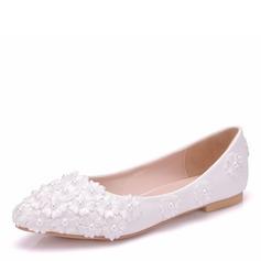Frauen Kunstleder Flascher Absatz Geschlossene Zehe Flache Schuhe mit Applikationen (047166113)