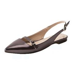 Женщины кожа Плоский каблук На плокой подошве Босоножки обувь (086090826)