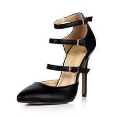 Konstläder Stilettklack Pumps Stängt Toe med Buckle skor (085042682)