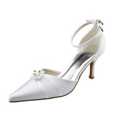 Женщины Атлас Высокий тонкий каблук Закрытый мыс На каблуках с Имитация Перл (047062050)