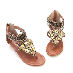 Similicuir Talon compensé Sandales avec Tasse chaussures (087063163)