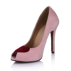 Suede Stiletto Heel Sandalen Peep Toe schoenen (087029169)