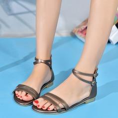 Женщины Натуральня кожа Плоский каблук Сандалии На плокой подошве Открытый мыс с пряжка обувь (087124707)
