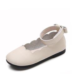 Jentas Lukket Tå Leather flat Heel Flate sko Flower Girl Shoes med Bowknot Velcro Ruched (207128269)