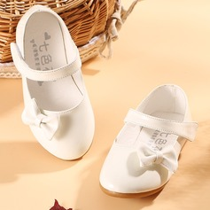 Jentas Lukket Tå Leather flat Heel Flower Girl Shoes med Bowknot (207095531)