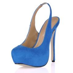 Suede Stiletto Heel Pumps Platform Closed Toe shoes (085017465)