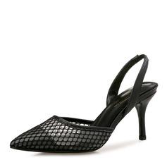 Женщины кожа сетка Высокий тонкий каблук Сандалии На каблуках Закрытый мыс Босоножки с Другие Эластичная лента обувь (085165152)