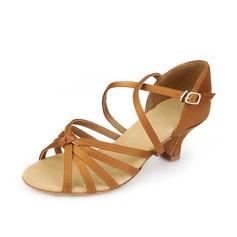 Femmes Satiné Talons Sandales Latin avec Lanière de cheville Chaussures de danse (053058448)