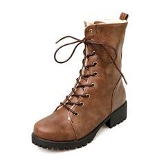 Femmes Similicuir Talon bas Escarpins Bout fermé Bottes Bottes mi-mollets Bottes neige Martin bottes avec Dentelle chaussures (088176493)
