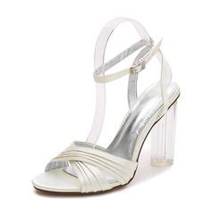 Женщины шелка как атласное Устойчивый каблук Открытый мыс На каблуках Сандалии с пряжка (047142792)
