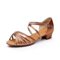 Детская обувь Атлас кожа На каблуках Сандалии Латино с Ремешок на щиколотке Обувь для танцев (053065766)