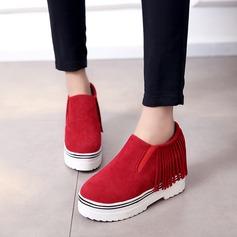 Женщины Замша Плоский каблук Закрытый мыс Танкетка с кисточкой обувь (086119396)