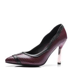 Женщины кожа Высокий тонкий каблук На каблуках Закрытый мыс с Другие обувь (085153079)