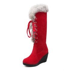 Женщины Замша Вид каблука Закрытый мыс Танкетка Сапоги до середины голени обувь (088094812)