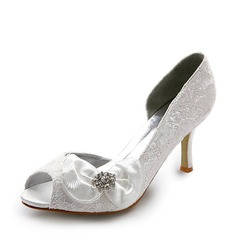 Kvinnor Satin Stilettklack Peep Toe Pumps med Fören STRASS (047005038)