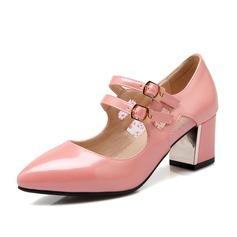 Женщины кожа Устойчивый каблук На каблуках Закрытый мыс с Соединение врасщеп обувь (085102872)