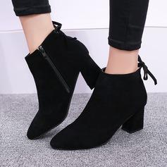Женщины Замша Устойчивый каблук Ботинки Полусапоги с Застежка-молния Шнуровка обувь (088137087)