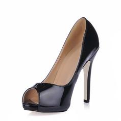 Kvinner Patentert Lær Stiletto Hæl Sandaler Platform Titte Tå sko (085020593)