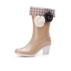 Kvinner PVC Stor Hæl Støvler Mid Leggen Støvler Gummistøvler med Blomst sko (088127051)