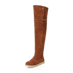 Женщины Замша Плоский каблук На плокой подошве Закрытый мыс Ботинки Сапоги выше колен Зимние сапоги с пряжка обувь (088176491)