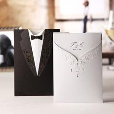 Personalizado Noiva e Noivo Papel em relevo Cartões de convite (Conjunto de 50) (114038996)