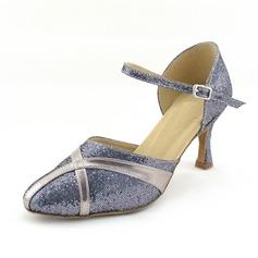 De mujer Cuero Brillo Chispeante Tacones Salón Sala de Baile con Tira de tobillo Zapatos de danza (053013152)