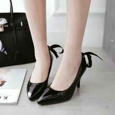 Femmes PU Talon stiletto Escarpins Bout fermé avec Rivet Cravate ruban chaussures (085130807)