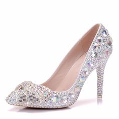 Женщины кожа Высокий тонкий каблук Закрытый мыс На каблуках с Каблуки с кристаллами хрусталь (047151528)