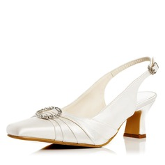 Женщины Атлас Каблук Закрытый мыс На каблуках Босоножки с пряжка горный хрусталь (047052663)