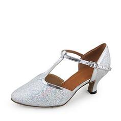 Mulheres Couro Espumante Glitter Saltos Bombas Salão de Baile com Correia -T Sapatos de dança (053018533)