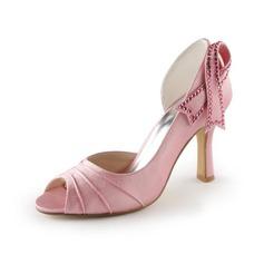 Kvinnor Satäng STILETTKLACK Peep Toe Sandaler med Bowknot Strass (047005397)