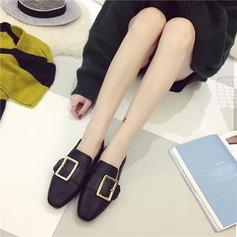 Женщины PU Плоский каблук На плокой подошве Закрытый мыс с пряжка обувь (086142453)