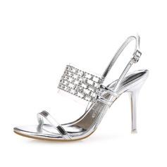 Женщины кожа Высокий тонкий каблук Сандалии Босоножки с горный хрусталь обувь (087085021)