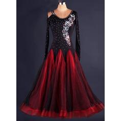 Женщины Одежда для танцев полиэстер Органза Латино Платья (115086087)