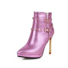 Женщины Натуральня кожа кожа Высокий тонкий каблук Полусапоги с пряжка обувь (088071283)