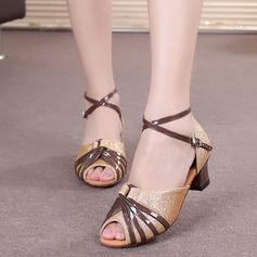 Женщины Мерцающая отделка На каблуках Сандалии Латино с Ремешок на щиколотке Обувь для танцев (053054874)