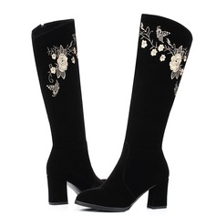 Женщины Замша Устойчивый каблук На каблуках Сапоги до колен с Атласный бант Застежка-молния обувь (088103943)