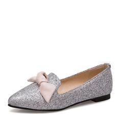 Женщины Мерцающая отделка Плоский каблук На плокой подошве Закрытый мыс с бантом обувь (086153771)