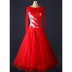 Женщины Одежда для танцев Спандекс Органза Латино Платья (115091491)