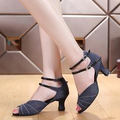 Женщины Холст На каблуках Латино Обувь для танцев (053121929)