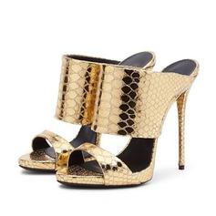 Натуральня кожа Высокий тонкий каблук Сандалии Тапочки обувь (087063718)