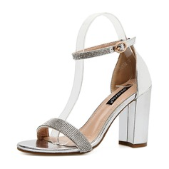 Women's PU Chunky Heel Sandals Pumps Peep Toe With Buckle shoes (087151063)
