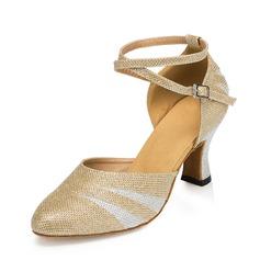 Женщины кожа На каблуках На каблуках Бальные танцы с Ремешок на щиколотке Обувь для танцев (053062920)