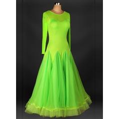Женщины Одежда для танцев Органза Латино Платья (115091488)
