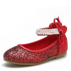 девичий Закрытый мыс ткань Плоский каблук На плокой подошве Обувь для девочек с блестками На липучке (207101475)