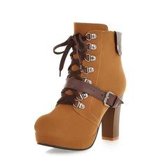 Suede Chunky Heel Enkel Laarzen met Gesp schoenen (088054391)