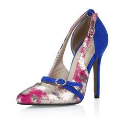 Женщины кожа Высокий тонкий каблук На каблуках Закрытый мыс с пряжка обувь (085058220)