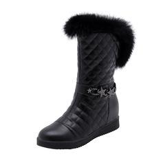 Femmes Similicuir Talon bas Bout fermé Bottes Bottes mi-mollets Bottes neige avec Chaîne Fourrure chaussures (088185737)