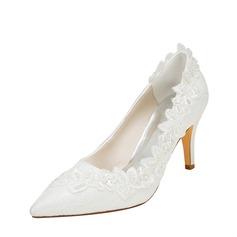 Женщины шелка как атласное Высокий тонкий каблук На каблуках с жемчуг (047128172)