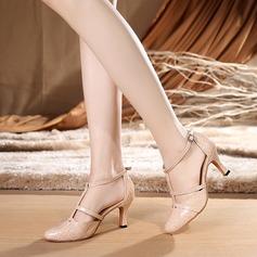 Женщины кожа На каблуках Бальные танцы с Ремешок на щиколотке Обувь для танцев (053114587)